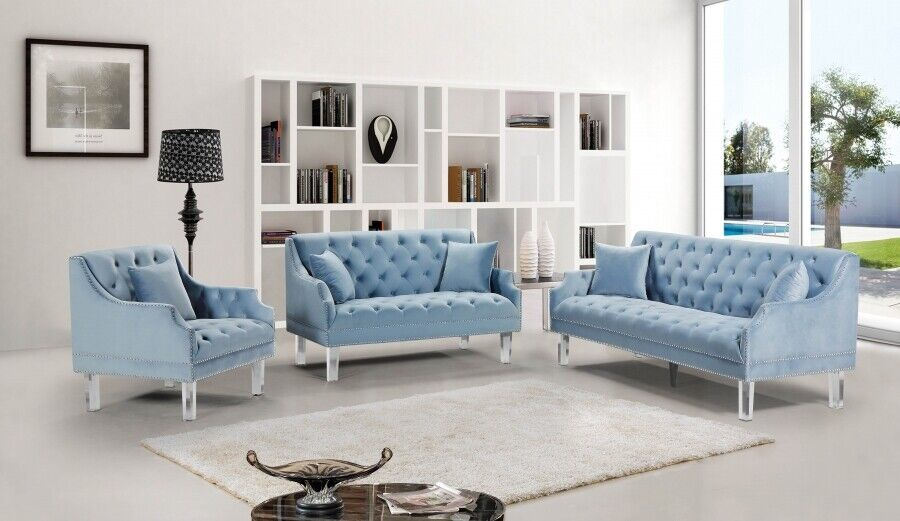 Modern Light Blue Button Tufted Velvet 2 Pc Living Room Sofa Set Nailhead Clear Ebay
