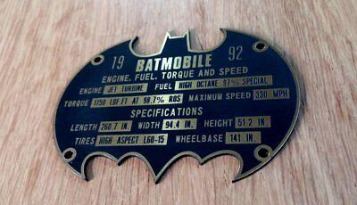 CUSTOM BATMOBILE SERIAL DATA PLATE PROP 1992 MANUFACTURER BATMAN - Batman Props