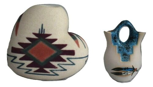 Garden of the Gods Souvenir Vases Heart Shaped & Double Hole Colorado Pottery