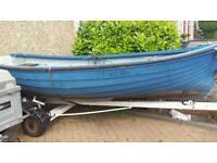 12ft fishing rowboat with outboard and trailer