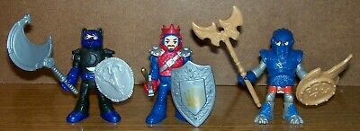 FISHER PRICE IMAGINEXT KNIGHTS with WEAPONS - (KING, WOLF & BLUE/SILVER KNIGHTS)