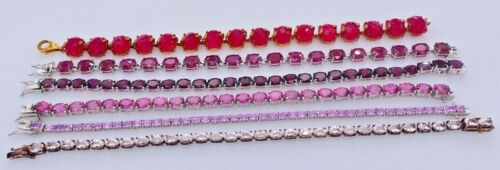 SHOPHQ GEM TREASURES STERLING SILVER 925 PINK MULTI-STONE TENNIS BRACELETS LOT
