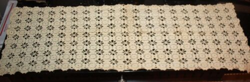 "Antique Hand Crochet Table Runner Medallion Ecru 47"" x 16"""