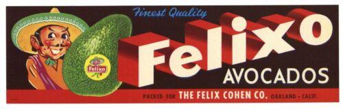FELIXO Vintage California Avocado Crate Label Mexican Spanish, AN ORIGINAL LABEL