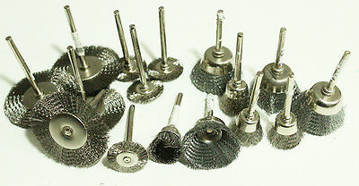16Pc Brush - Wheel Cup Stainless Steel Wire Mounted 1/8inch Shank