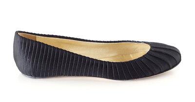 Valentino Shoe Ballet Flat Black Tuxedo Pleated Satin 39 / 9 (Pleated Satin Flat)