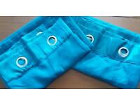 2x pairs dark teal blue curtains