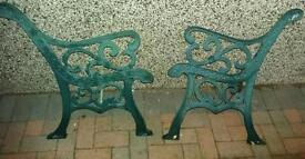 Pair of cast iron chair ends for garden bench