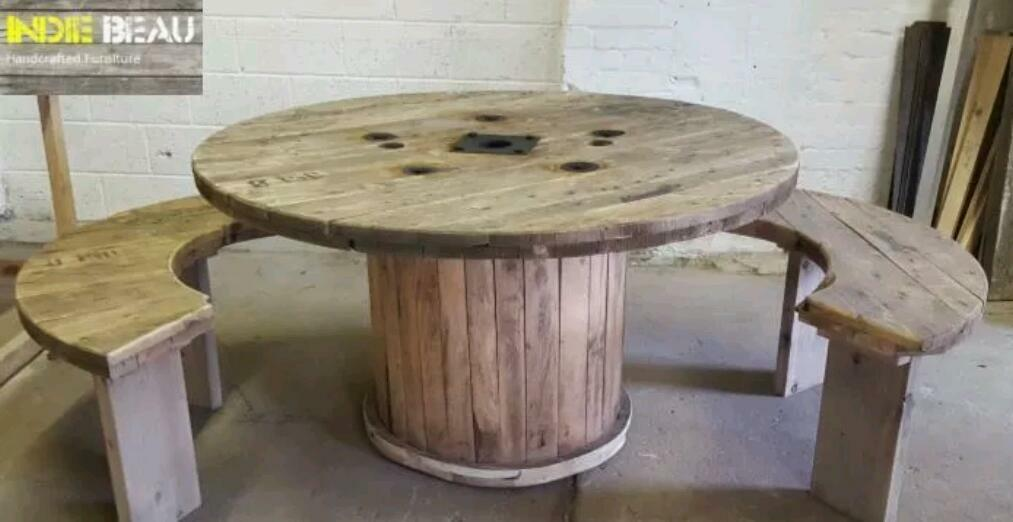cable drum table and benches in halifax west yorkshire