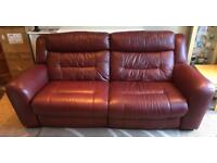 Red Leather Furniture Village Sofa and Armchair