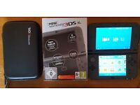 "Nintendo ""New"" 3ds XL Metallic Black, Charger and Case"