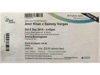 Amir Khan vs Sammy Vargas 6 tickets for sale £75 each