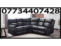 Brand New Arizona Leather Recliner Corner Sofa Black Brown