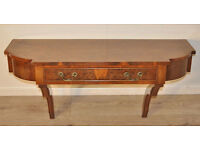 Attractive Small Wall Mounted Vintage Burr Walnut Side Console Table with Drawer