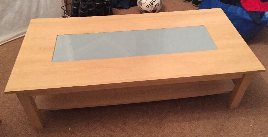 **Set**Wooden coffee table with glass centre + nest of 3 tables to match. Will sell separately.