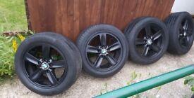 £140 ONO - 4 x 5 stud BMW alloys [5X120 PCD] with good tyres 205 X 55 X16's