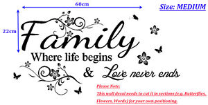 Family Inspirational Wall Art Quotes Vinyl Wall Sticker, DIY Home Wall Decal