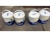 4 x tins of Dulux Paint Silk - 2 x magnolia and 2 x Barley White