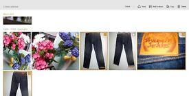 Draggin Ladies Classic Kevlar Biker Jeans, indigo denim,100% Kevlar lining nearly new