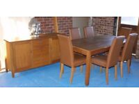 NEXT SOLID OAK DINING TABLE SET INCLUDING 6 CHAIRS & SIDEBOARD
