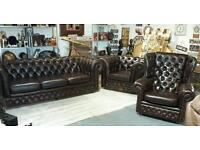 Three piece suite real leather chesterfield !! Bargain !!