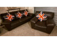 DFS Brown 3 seater sofa and matching armchair ultimate comfort modern and stylish