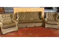 Sage Green Sofa & 2 Armchairs