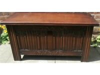 Jacobean Style Carved Wooden Oak Blanket Box Coffer Lifting Lid Storage Toy Box