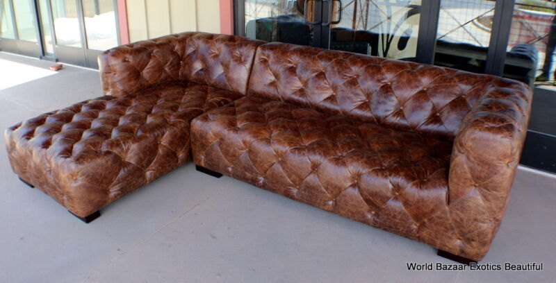 """118"""" Sectional Vintage Brown Leather Tufted Sofa Rsf Chaise Lsf Sofa Modern"""