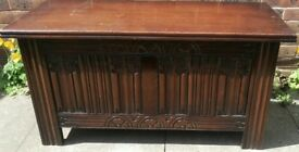 Jacobean style beautifully carved oak antique blanket box