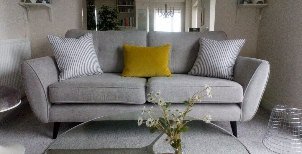 Modern 3 Seater French Connection Zinc Sofa In