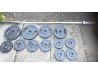 Olympic Weights Set plus Bench and Squat Stands