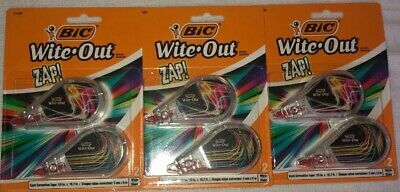 Bic Wite-out Zap Correction Tape. 6 Total 2 Count Per Package 3 Packages