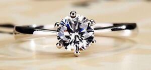 2Ct Round Excellent Cut Diamond Solitaire Engagement Ring, Platinum Hallmarked