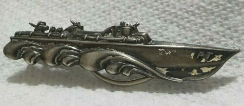 WWII US Navy Naval PT Fighting Boat Money Clip Sterling Silver