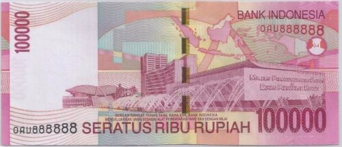 INDONESIA 100,000 RUPIAH  # 888888   BANK INDONESIA  SOLID 8