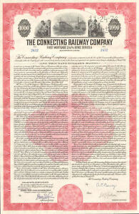 The-Connecting-Railway-Company-1951-railroad-bond-certificate-stock-share
