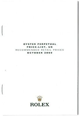 ROLEX Price List 2009 UK  OYSTER PERPETUAL Daytona Submariner Day-Date GMT OEM