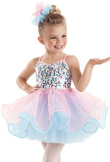 Dance Costume Small Child Pink Blue Ballet Cotton Solo Competition Pageant Glitz