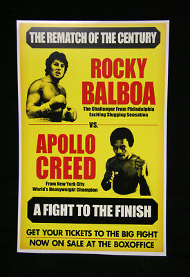 11x17 Vintage Yellow Rocky Balboa Apollo Creed Movie Prop Boxing Poster  Print