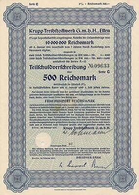 Krupp Treibstoffwerk Essen Anleihe 1937 Wanne-Eickel Herne Benzin aus Kohle Öl
