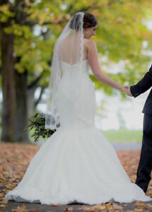 Malis Henderson wedding veil - lace trim - fingertip length