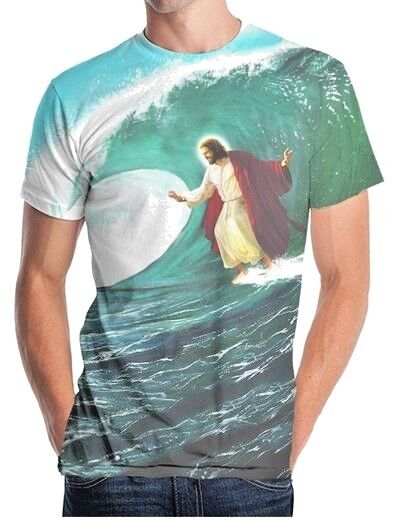 Купить New Picture Surfs Up Jesus Surfing Sublimation Allover Front Soft T-shirt top