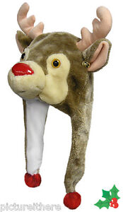 Christmas-Reindeer-Holiday-Party-Plush-Critter-Cap-Hat-Laplander-Free-Shipping
