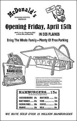McDonald's 1955 Grand Opening Poster - Des Plaines Illinois Speedee Kroc Ronald