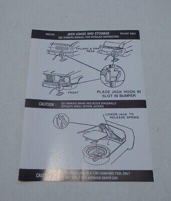 Mopar 72 Dart Demon Duster Valiant Instructions Decal NEW 3685700 DD0090