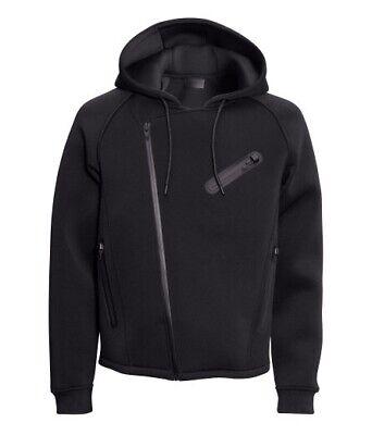 Alexander Wang x H&M Black Hooded Logo Neoprene / Scuba Biker Jacket - Size L