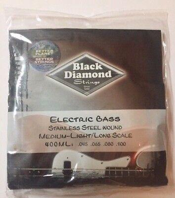 Black Diamond Electric Bass - Black Diamond  400ML Electric Bass Strings  - Stainless Steel Wound Medium