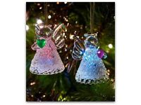 Set of 2 Light-up Glass Angel Tree Decorations
