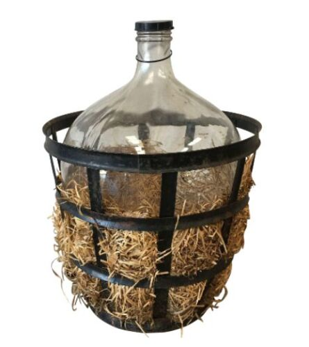 Antique Carboy Demijohn Wine Holder In Iron Basket